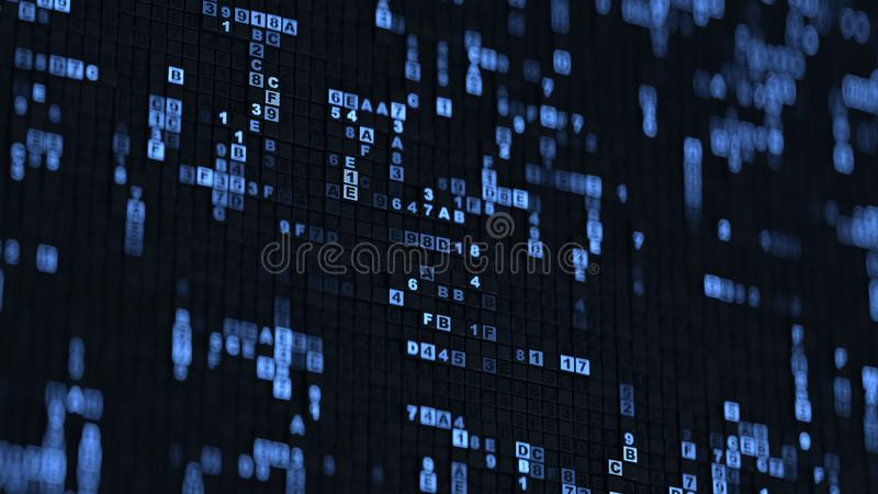 Blue hexadecimal big data digital code 3D rendering illustration. Blue hexadecimal big data digital code. Futuristic information technology concept. Computer vector illustration