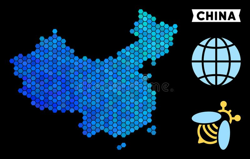 Blue Hexagon China Map. Geographic map in blue color variations on a black background. Vector concept of China map composed of hexagon dots royalty free illustration