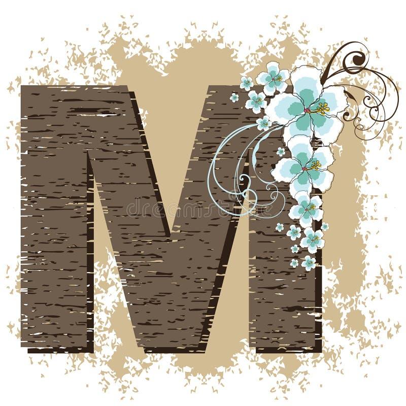 Blue hibiscus alphabet M stock illustration