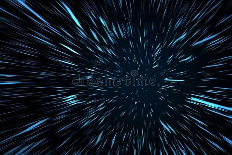 Blue High Speed Space Warp Blur. Background. 3D Illustration vector illustration