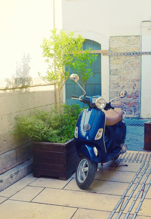 Blue scooter on a street next to a tub with a little tree in a sunny day. stock image