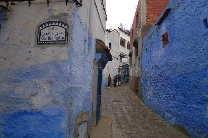 Blue historical streets of Morocco. Narrow and old streets. You don`t know what you`re gonna see. Blue historical streets of Morocco. Narrow and old streets stock photo