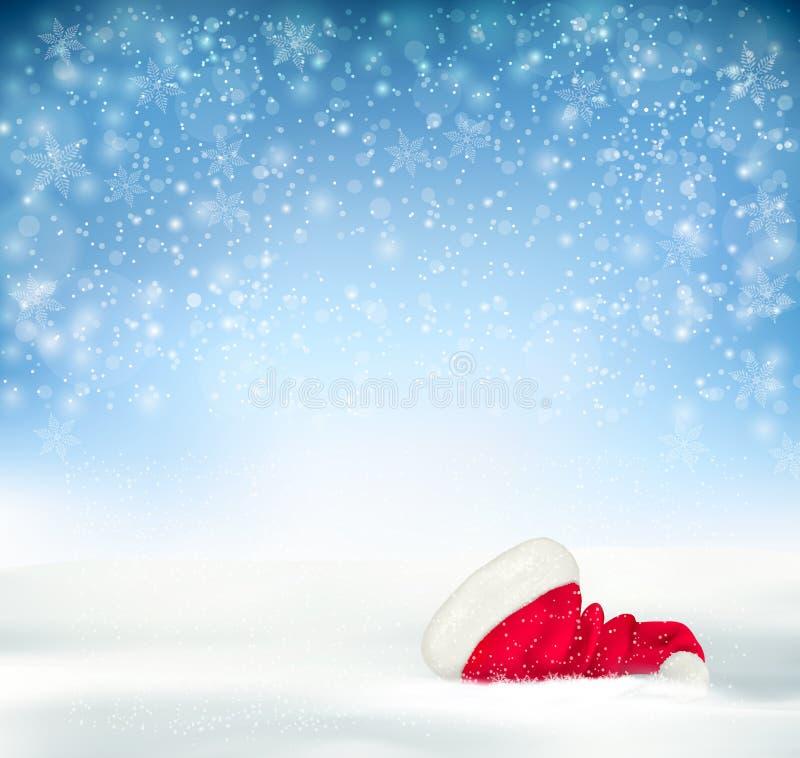 Blue Holiday Christmas background with santa hat, stock illustration