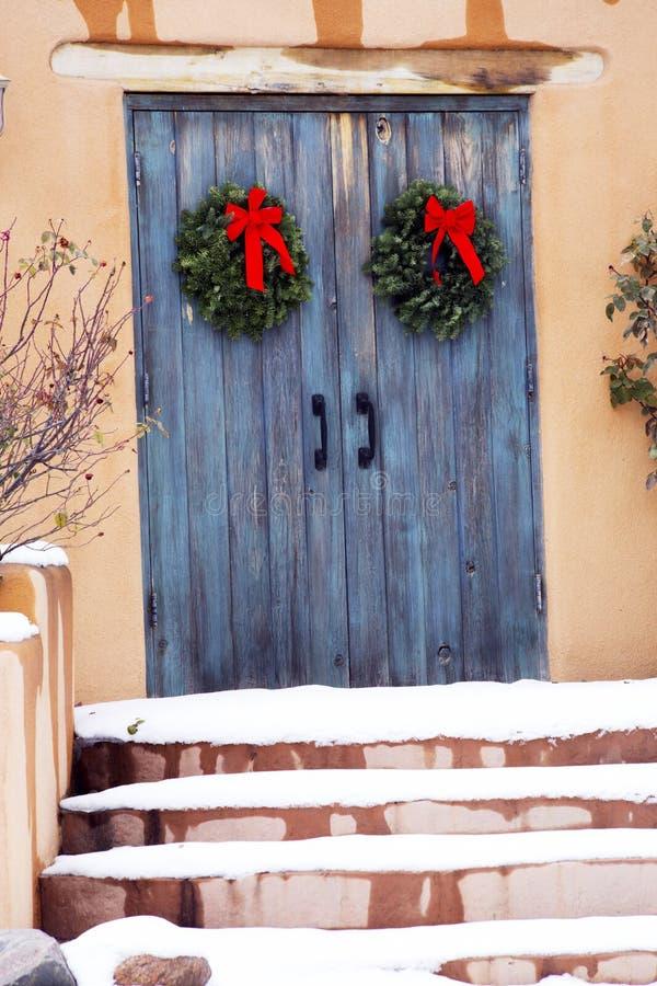 Blue Holiday Gate Entryway in Santa Fe, New Mexico stock photos