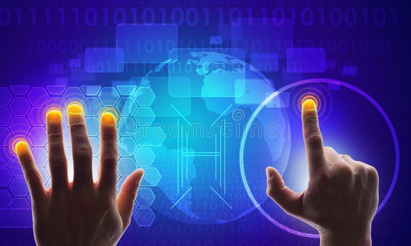 Blue holographic screen with map and hands stock image image of download blue holographic screen with map and hands stock image image of technology circle gumiabroncs Gallery