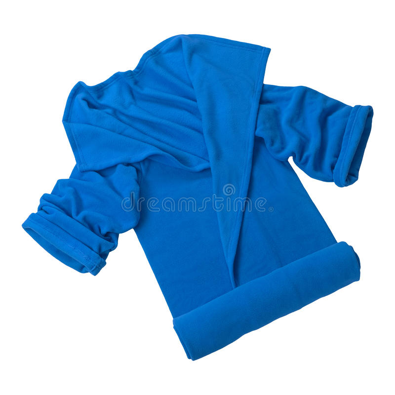 Blue home robe. Isolated on white background royalty free stock image