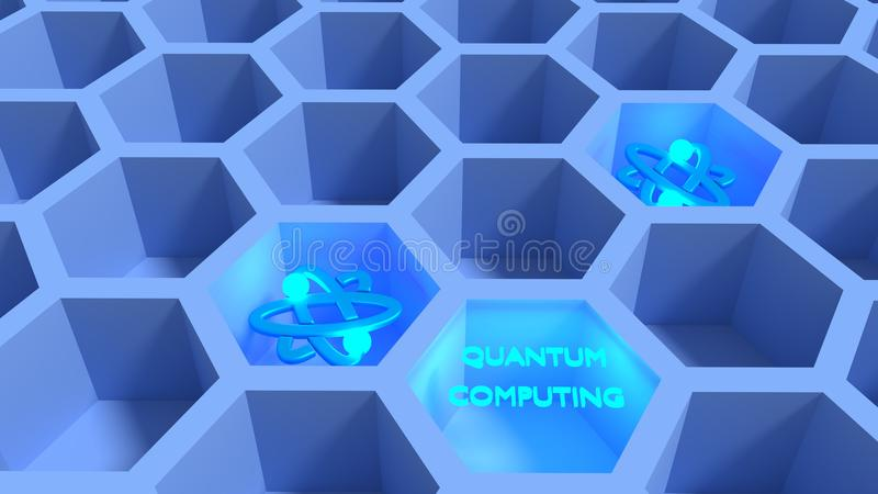 Blue honeycomb net with glowing atom symbols quantum computing c. Oncept 3D illustration stock illustration