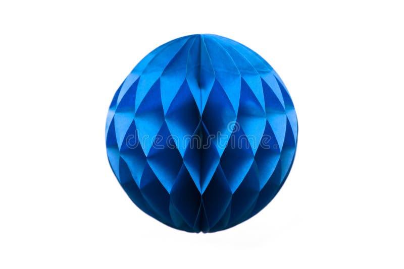 Blue honeycomb paper ball decoration isolated on white background stock image