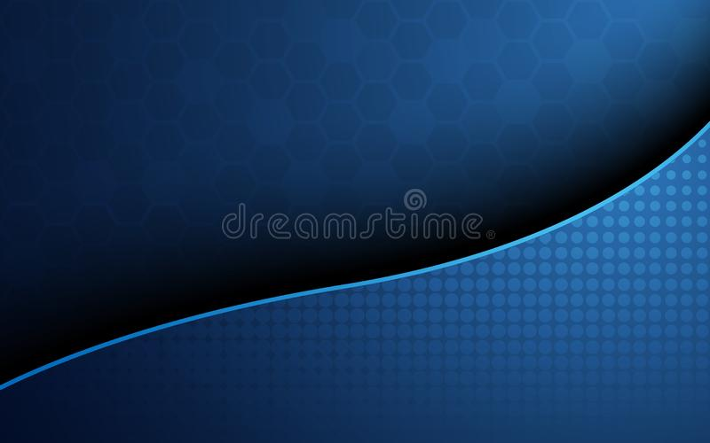 Blue honeycomb with blue wave curve abstract background. Wallpaper and texture concept. Minimal theme. Vector illustration stock illustration