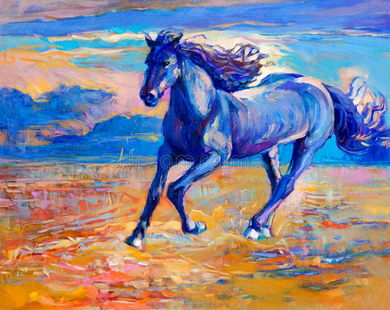 Blue horse. Original abstract oil painting of a beautiful blue horse running.Modern Impressionism.Painting is related to year 2014-year of the blue horse