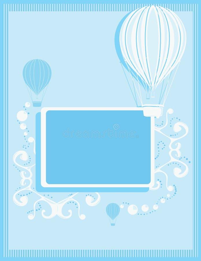 Blue hot air balloon background stock illustration
