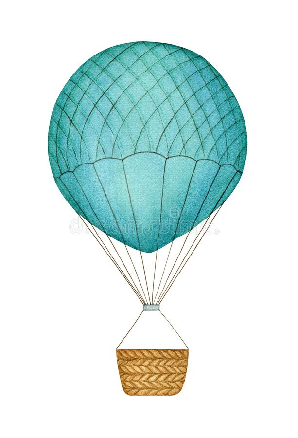 Blue hot air balloon hand painted watercolor clipart element isolated on white background. royalty free stock images