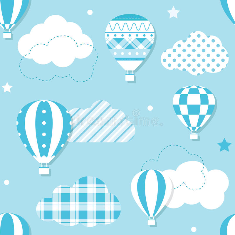 Blue hot air balloons pattern. Illustration of hot air balloons collection with patterned clouds, stars and dots on blue background royalty free illustration