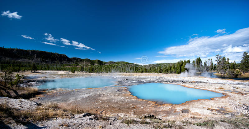 Blue Hot Springs, Yellowstone National Park. Blue hot springs in Yellowstone National Park, Wyoming, United States of America stock photos