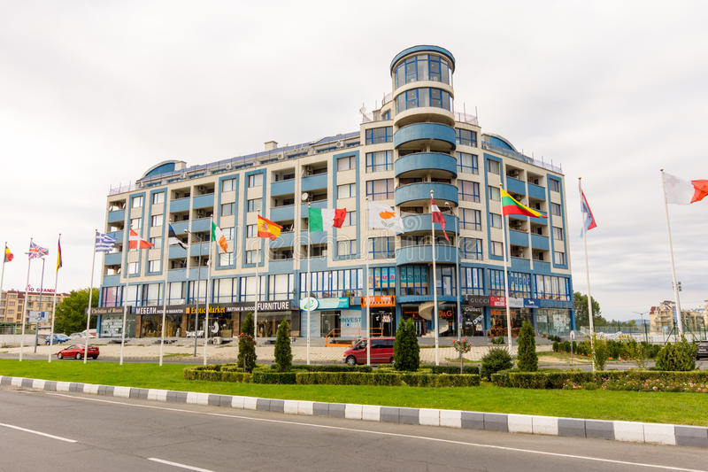 Blue Hotel in Sunny Beach in Bulgaria royalty free stock image