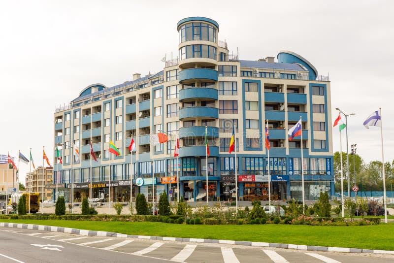 Blue Hotel in Sunny Beach in Bulgaria stock photo