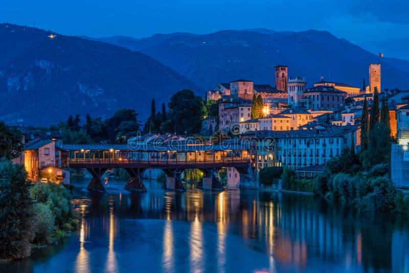 Blue Hour at Bassano del Grappa. A deep blue hour shot of the river front and Ponte Veccio bridge at Bassano del Grappa, Italy royalty free stock photography