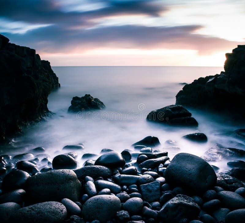 Blue hour beach stock photography