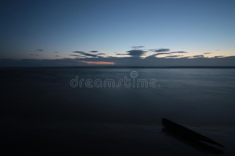 Blue hour. In Formby Beach royalty free stock photo
