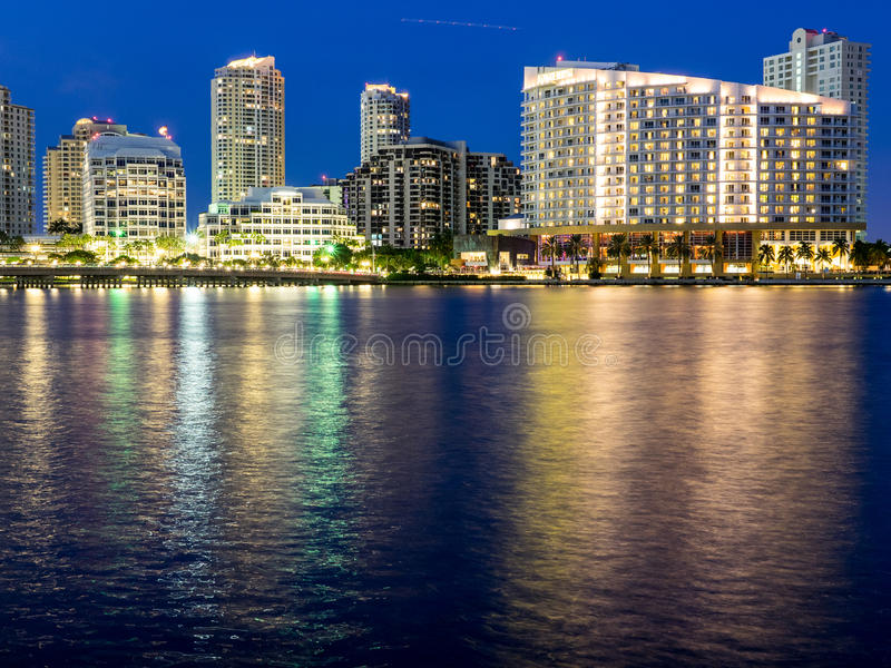 Blue Hour in Brickell Key royalty free stock photos