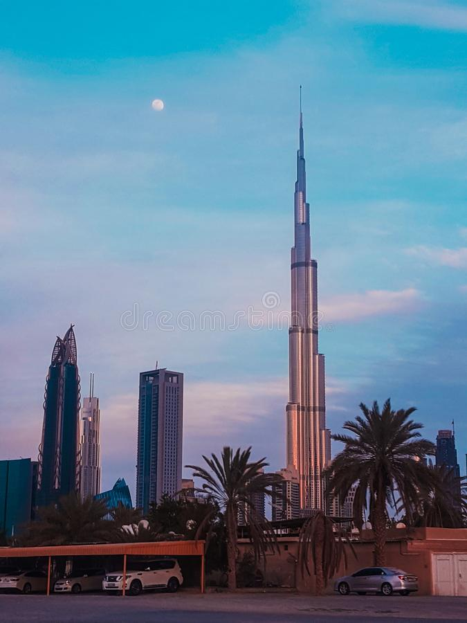 Blue hour at Burj Khalifa royalty free stock photos