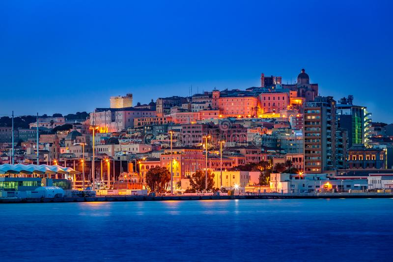 Cagliari dal porto. Blue hour in Cagliari, harbour view, city illumination stock photo