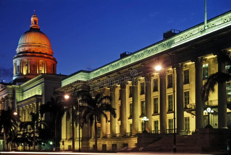 Blue Hour View City Hall Singapore royalty free stock photography