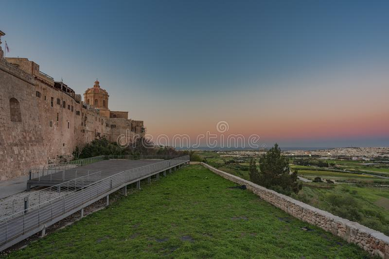 BLUE HOUR IN MDINA. BLUE HOUR IN THE MEDIEVAL TOWN OFMDINA, MALTA ISLAND royalty free stock images