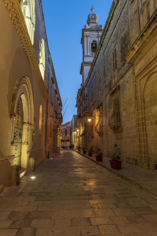 BLUE HOUR IN MDINA. BLUE HOUR IN THE MEDIEVAL TOWN OFMDINA, MALTA ISLAND stock photography