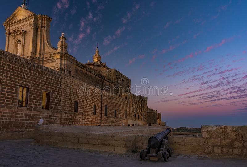 BLUE HOUR IN RABAT. BLUE HOUR IN THE MEDIEVAL TOWN OF RABAT, MALTA ISLAND royalty free stock image