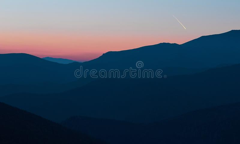 Blue hour with Mountain View. Mountain view in Parang Carpathians, Romania at sunset. Blue hour. Color contrast royalty free stock image