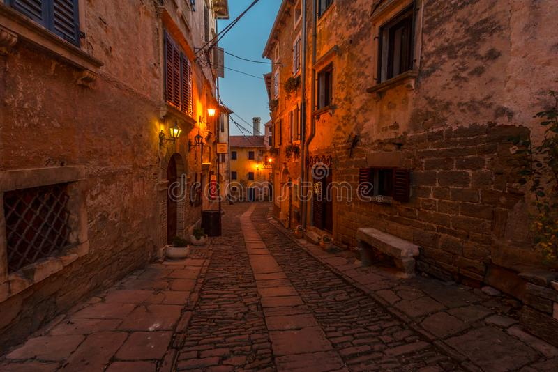 Blue Hour on Old Streets of Groznjan, Istria. Street of Old Town Groznjan, Istria, Croatia, photographed with my Nikon D750 at Winter afternoon and blue Hour royalty free stock photos