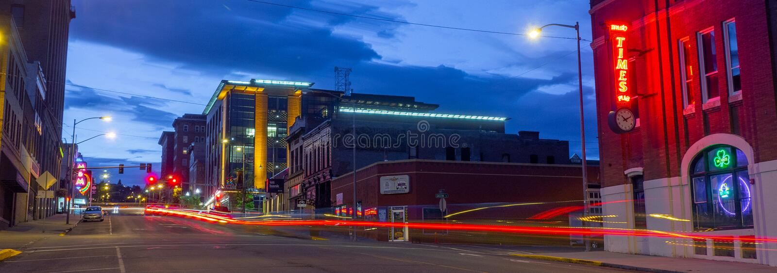 Main Street at Night, Historic Uptown Butte. stock photography