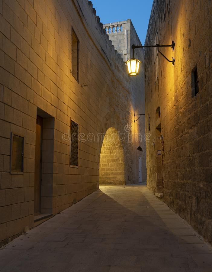 BLUE HOUR IN RABAT. BLUE HOUR IN THE MEDIEVAL TOWN OF RABAT, MALTA ISLAND stock photography