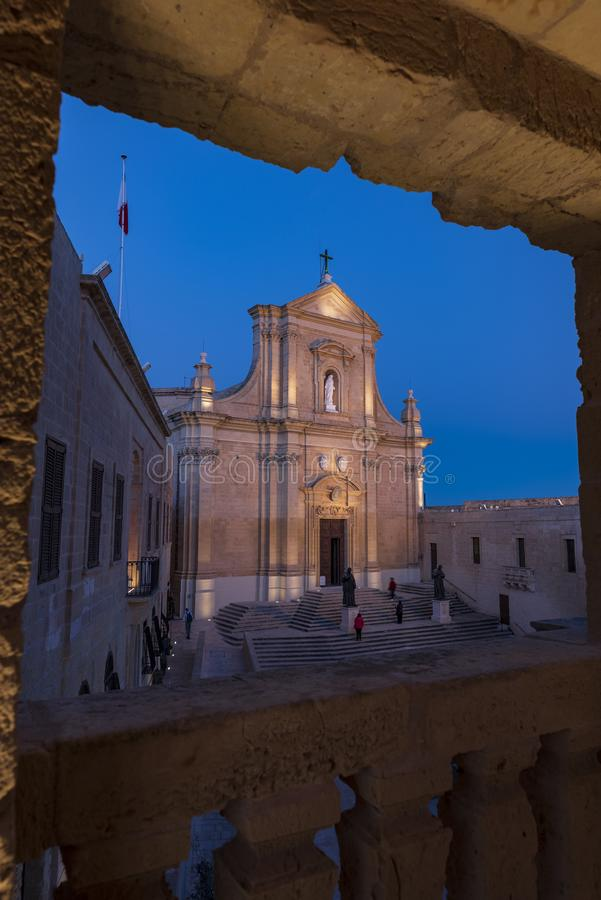 BLUE HOUR IN RABAT. BLUE HOUR IN THE MEDIEVAL TOWN OF RABAT, MALTA ISLAND royalty free stock photo