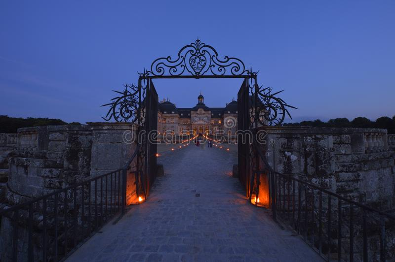 Castle of Vaux-le-Vicomte - Paris region. During the blue hour, there are magnificent lights on the castle of Vaux-le-Vicomte stock photos