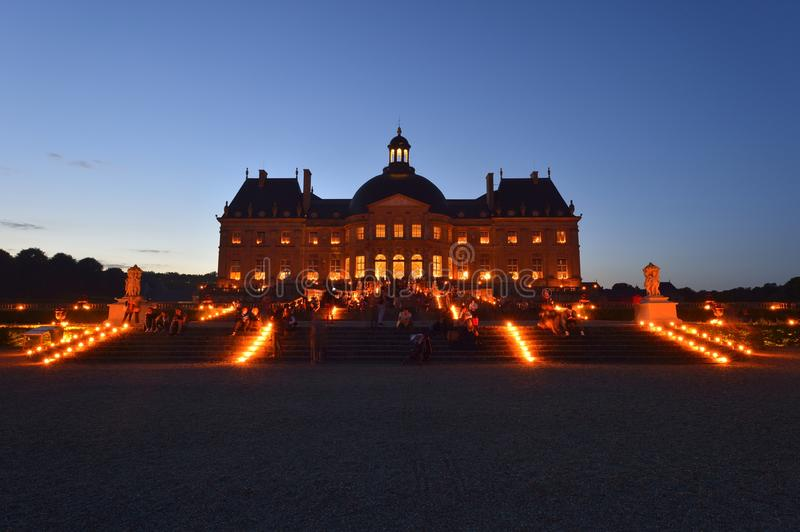 Castle of Vaux-le-Vicomte - Paris region. During the blue hour, there are magnificent lights on the castle of Vaux-le-Vicomte stock photo