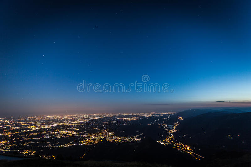 Blue hour on venetian prealps stock photo