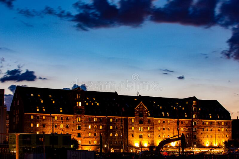 Blue hour view of old historical buildings in Copenhagen royalty free stock images