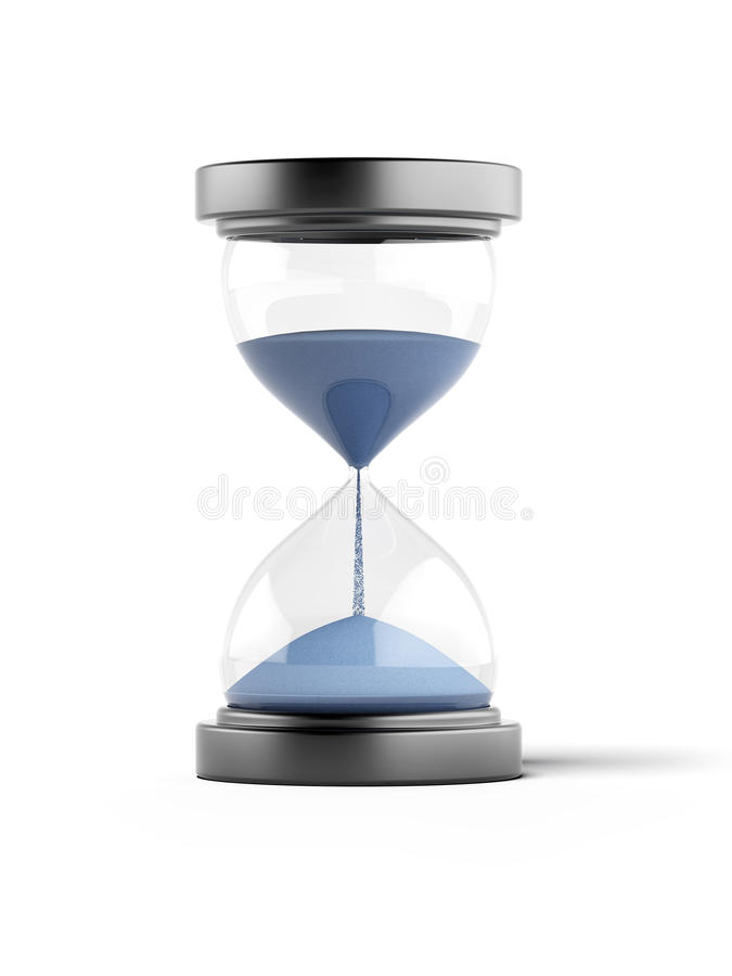 Blue Hourglass. Isolated on a white background stock illustration