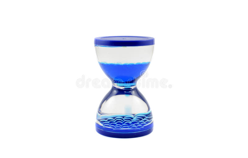 Blue hourglass. Isolated on white background stock photo