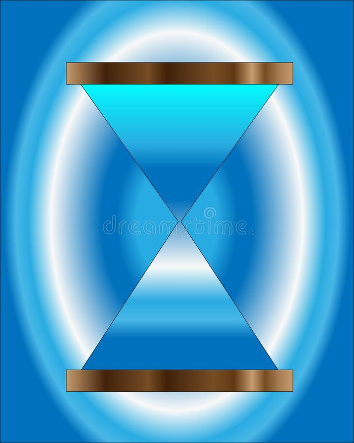 Blue hourglass shows passing time stock illustration