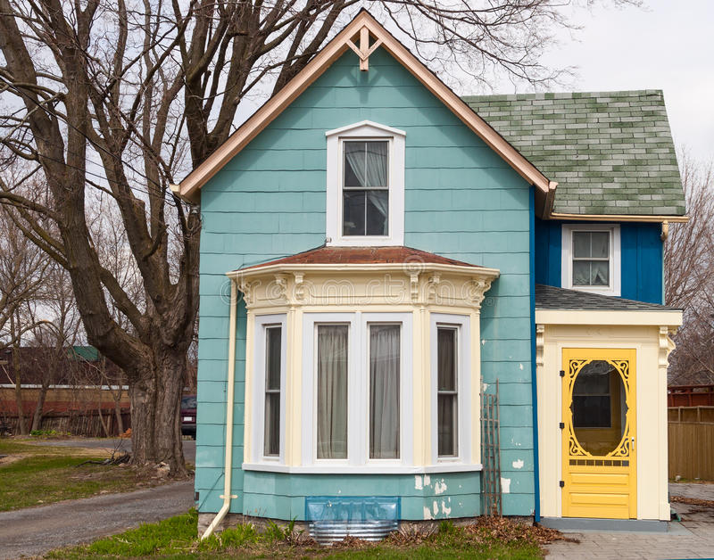 Lovely Download Blue House With Bay Window Stock Image. Image Of Storey   40316055