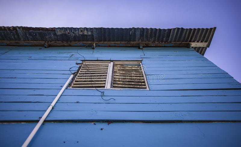 Blue house detail in Bayahibe city center. In Dominican Republic royalty free stock image