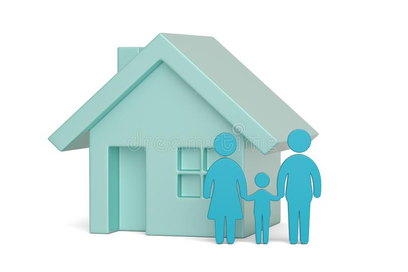 Blue house and family icon isolated on white background, 3D illustration.  royalty free illustration