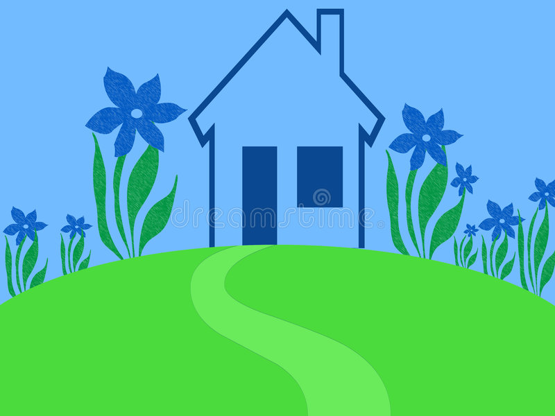 Blue house garden stock illustration