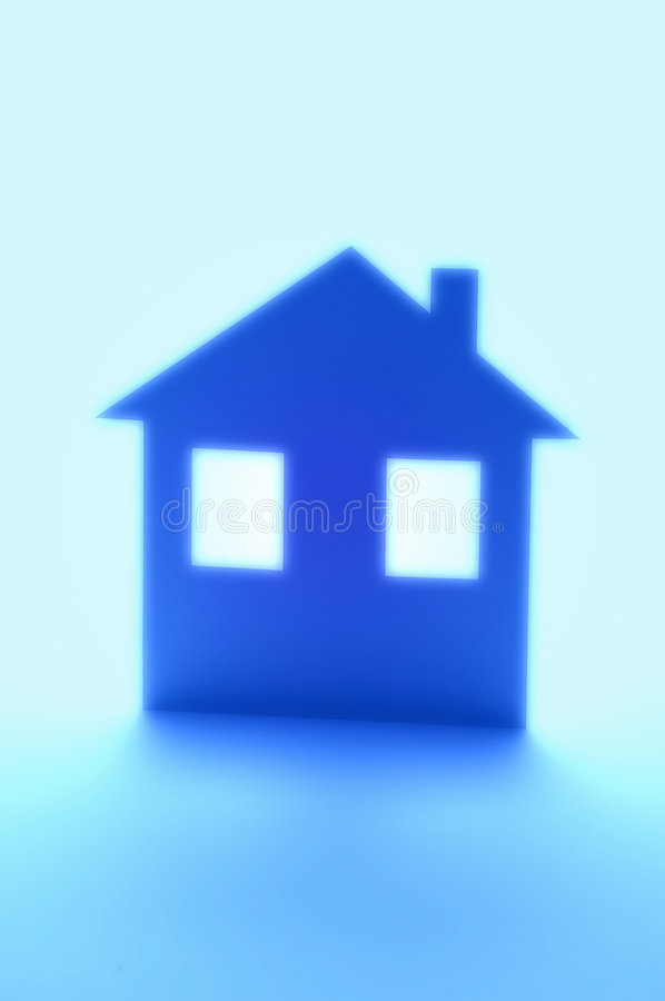 Blue House Home Insurance Silhouette stock images