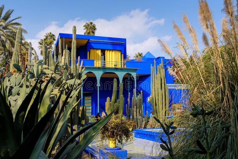 Majorelle Garden in Marrakech, Morocco. The Blue House within the Majorelle Garden, also know as the Yves Saint Laurent`s Garden, in downtown Marrakech, Morocco stock photos