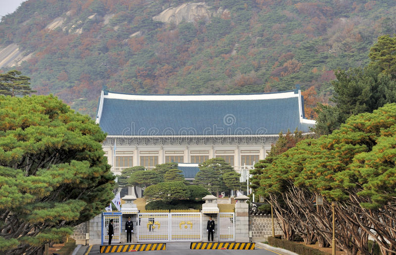The Blue House. Seoul, South Korea- November 11, 2015: Security officials on duty at the front gate of South Korea presidential office. It is also known as The stock images