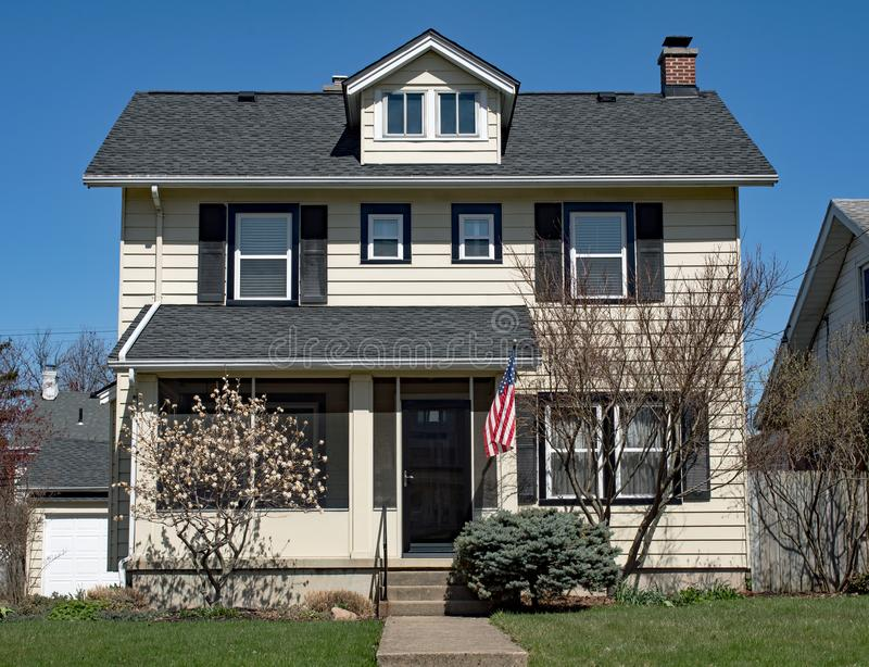 Basic Two Story House with One Dormer (84)R-PS stock image
